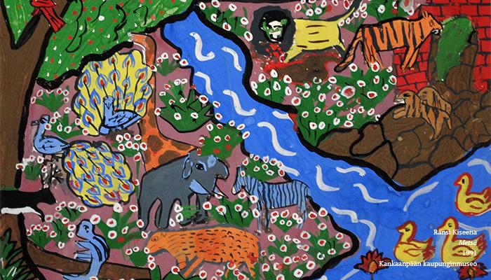 Rajattu kuva teoksesta. Erilaiset metsän eläimet, kuten leijonat, norsut, riikinkukot ja seeprat ovat kokoontuneet kirkkaan sinisen, kuvan keskellä virtaavan joen ääreen. Kuvassa on paljon värikkäitä yksityiskohtia: kukkia, kiviä, tiiliraunioita ja puita.