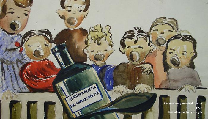 """Yksityiskohta teoksesta. Kuvassa on joukko lapsia suut avoinna. Kuvan etualalla on lusikka ja pullo, jonka kylkeen on kirjoitettu: """"Amerikkalaista kalanmaksaöljyä""""."""