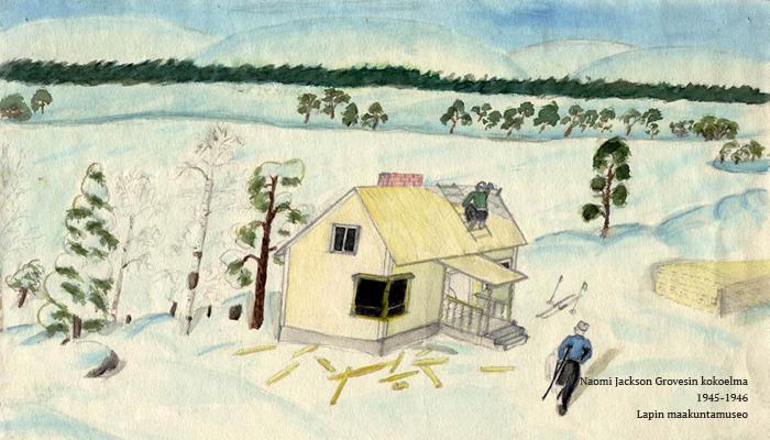 Kuvassa on talvinen maisema. Kuvan keskellä on vaalea talo, jota parhaimmillaan rakennetaan tai korjataan. Kuvassa näkyy kaksi henkilöä työn touhussa. Horisontissa ja pihapiirisissä on muutamia vihreitä havupuita.