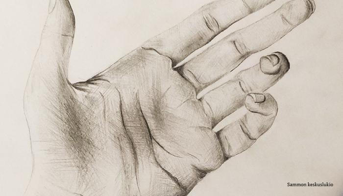Rajattu kuva piirustuksesta. Kuvassa on tarkka anatominen piirustus ihmisen kädestä, kämmen ylöspäin.