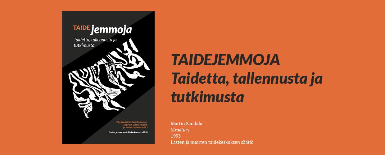 Kuvateksti ja kansikuvan tekijän tiedot tummanharmaalla ja valkoisella tekstillä oranssilla taustalla. Kuvassa näkyy myös kirjan kansi.