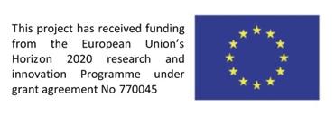 """EU:n myöntämä """"leima"""" DIALLSlle. Vasemmalla englanniksi teksti """"This project has received funding from the European Union's Horizon 2020 research and innovation Programme under grant agreement No 770045"""". Oikella EU:n lippu."""